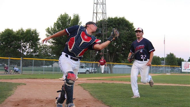 Sleepy Eye catcher Matt Mielke chases down a foul ball with pitcher Alex Sellner in the distance in Sleepy Eye's game against Fairfax on Friday, July 31.