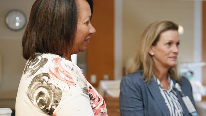 From left, Kim Pina, Nurse Manager of the St. Luke's Family Centered Unit and Level II Nursery with Deborah Toffey, Executive Director of Southcoast's Women and Children's Care.