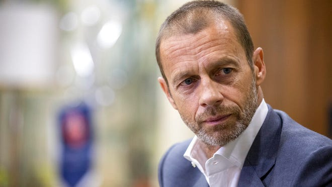UEFA President Aleksander Ceferin during an interview with The Associated Press in Lisbon, Portugal, Sunday, Aug. 23, 2020. Ceferin says he will hold talks about retaining the single-game eliminator format that has been used to complete the pandemic-disrupted Champions League and Europa League seasons.
