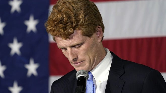 U.S. Rep. Joe Kennedy III speaks outside his campaign headquarters in Watertown, Mass., after conceding defeat to incumbent U.S. Sen. Edward Markey, Tuesday, Sept. 1, 2020, in the Massachusetts Democratic Senate primary.