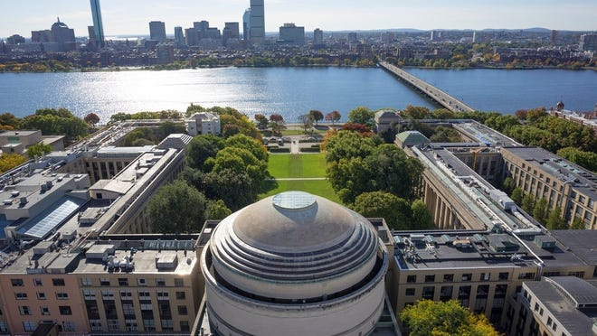 An aerial shot of Massachusetts Institute of Technology in East Cambridge.