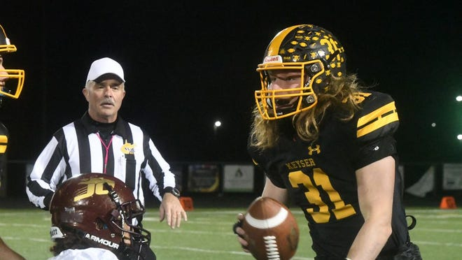 Gavin Root looks to throw the ball as the Golden Tornado hosted Jefferson at Alumni Field. Tribune photo by Barbara High