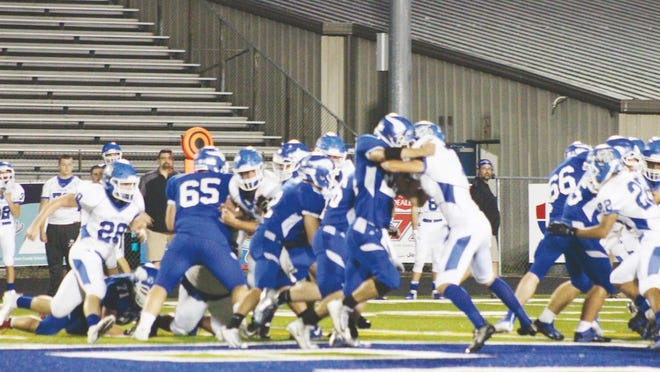 In 2018, Viking senior Cayden Keeler, No. 65, put in his time on the field as he's seen here attempting to block his Princeton opponents.