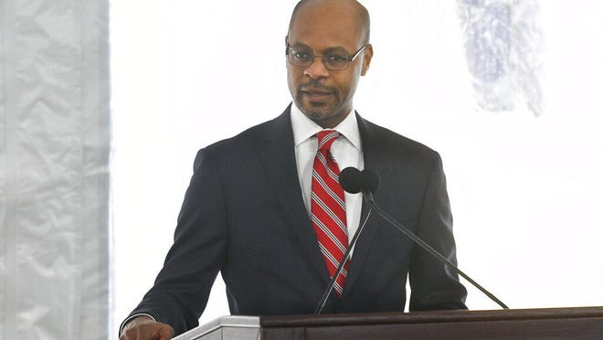 Harold Melton, Chief Justice for the Supreme Court of Georgia, speaks during a dedication of the state's new Nathan Deal Judicial Center on Feb. 11 in Atlanta. The center, named for the former governor, is the first state building in the history of Georgia that is devoted entirely to the judiciary.