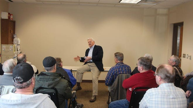 Congressman Collin Peterson met with veterans in Redwood Falls in 2019 to talk about the cemetery.