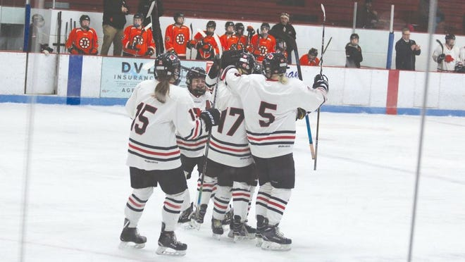 Firebird players celebrate after scoring a goal in a game against Dickson on Feb. 1 at Birdick Arena. The Firebirds won 6-2.