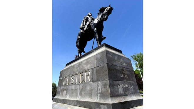 The Gen. George Custer statue in downtown Monroe.