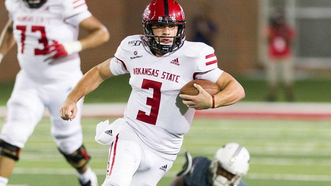 Sophomore quarterback Layne Hatcher has thrown for 1,337 yards, 12 touchdowns and two interceptions this season, but he's only half of the quarterback equation for Arkansas State. Hatcher and junior quarterback Logan Bonner alternate each series.