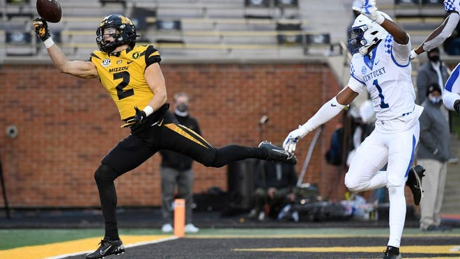 Missouri wide receiver Micah Wilson (2) is unable to catch a pass in the end zone as Kentucky defensive back Kelvin Joseph (1) watches during the second half of an NCAA college football game Saturday, Oct. 24, 2020, in Columbia, Mo.