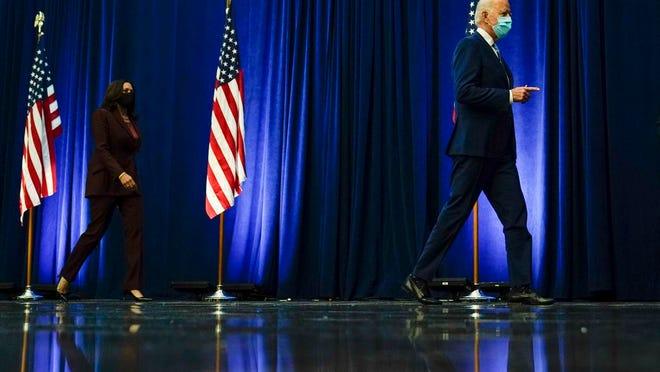 Democratic presidential candidate former Vice President Joe Biden arrives to speak Wednesday, Nov. 4, 2020, in Wilmington, Del., with his running mate Sen. Kamala Harris, D-Calif.