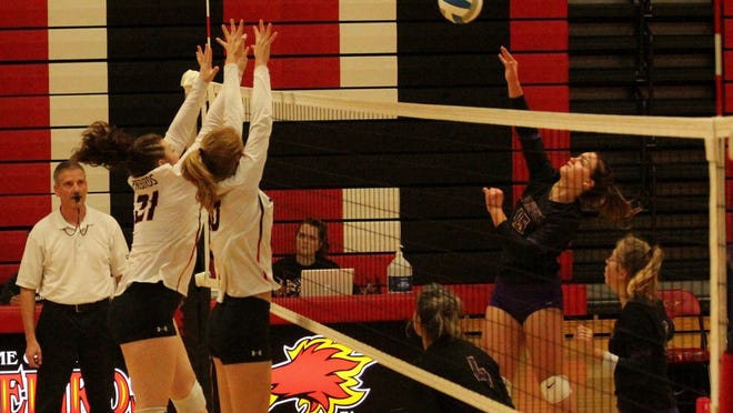 Devils Lake players block a Wahpeton scoring attempt in a game against the Huskies on Sept. 12 at Devils Lake High School. The Firebirds won 3-2.