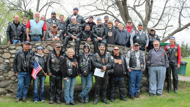 Members of the Spirit Lake Riders MC and a few of the homeless veterans they have helped through the years gathered in Devils Lake's Roosevelt Park for a special event in 2016.