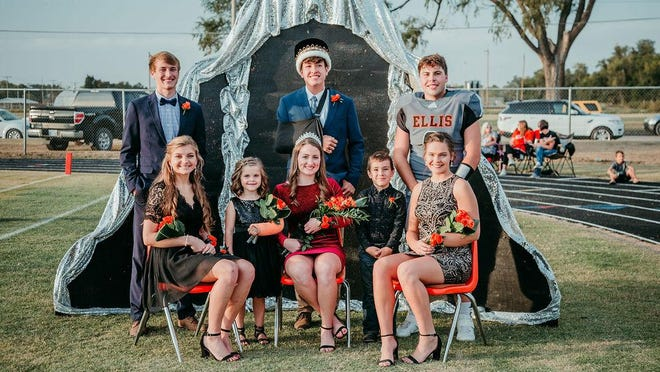 Back Row (L to R):  Candidate Brady Frickey, son of Stacy & Brad Frickey; King Daniel Eck, son of Geoff & Mindy Eck; Candidate Tegan Cain, son of Brent & Darci Cain. Front Row (L to R):  Candidate Abigail North, daughter of Travis & Ava North; Flower Girl Ainsley Haas, daughter of Danny & Lacie Haas; Queen Grace Eck, daughter of Mark & Sarah Eck; Crown Bearer Theodore Rivera, son of Justin & Sophia Hendrickson; Candidate Morgan Bittel, daughter of Brady Bittel and Tammy Rudd.