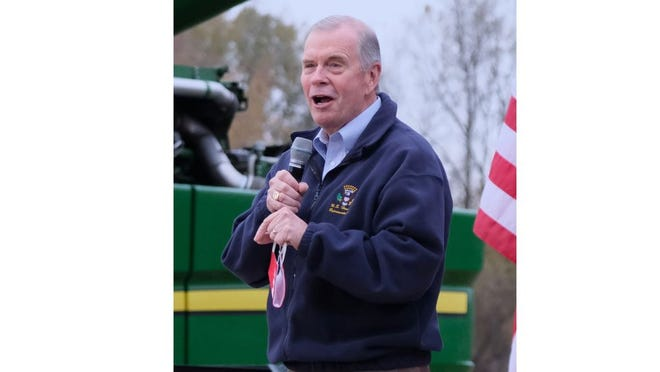 U.S. Rep. Tim Walberg, R-Tipton, speaks Oct. 20 in support of President Donald Trump during a rally at a farm in Maybee. Walberg is running for reelection against Democrat Gretchen Driskell of Saline, the third time the two have faced off.
