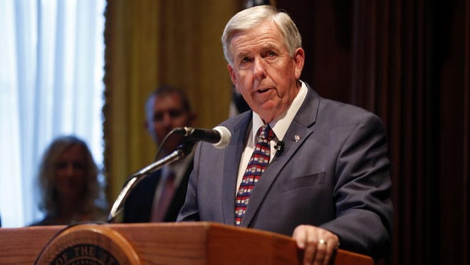 Missouri Gov. Mike Parson speaks after being sworn in as the state's 57th governor following the resignation of Eric Greitens on Friday, June 1 in Jefferson City. Parson released $195 million in withheld funds on Friday, but the state was unable to transfer the funds before the fiscal year ended.