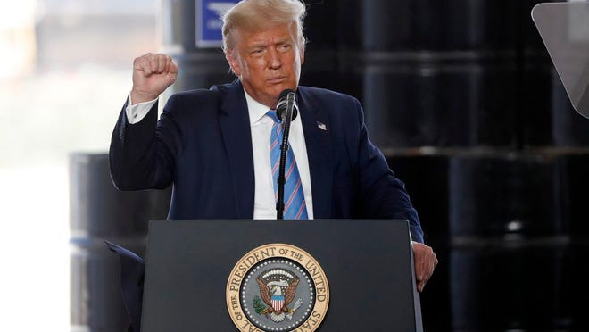 President Donald Trump delivers remarks about American energy production during a visit to the Double Eagle Energy Oil Rig, Wednesday, July 29, 2020, in Midland, Texas.