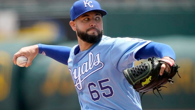 Kansas City Royals starting pitcher Jakob Junis throws during the first inning of a baseball game against the Chicago White Sox Sunday, Aug. 2, 2020, in Kansas City, Mo.