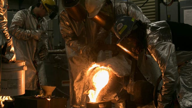 A steel pour taking place in the Foundry Laboratory at S&T.