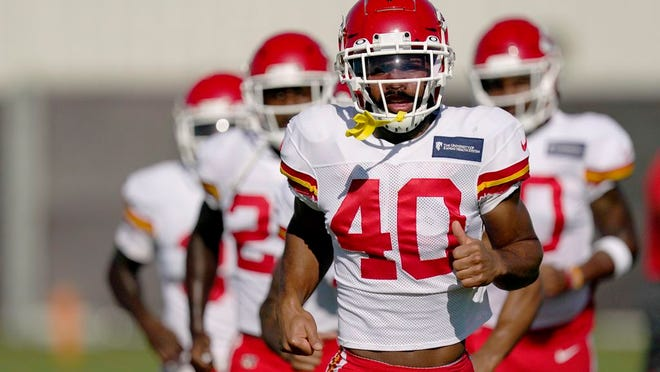 Kansas City Chiefs defensive back Rodney Clemons runs with teammates during an NFL football training camp practice Thursday, Aug. 27, 2020, in Kansas City, Mo.