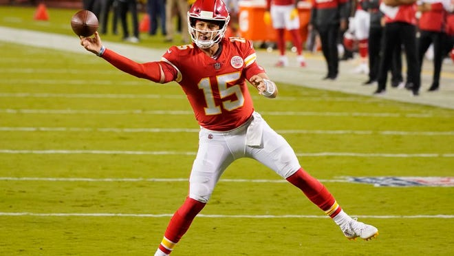Kansas City Chiefs quarterback Patrick Mahomes passes against the Houston Texans in the first half of an NFL football game Thursday, Sept. 10, 2020, in Kansas City, Mo.