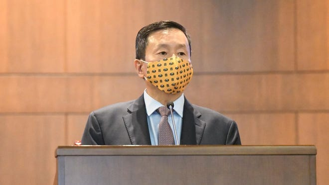 UM System President Mun Choi speaks Aug. 28 at Columbia City Hall after a new health order closing bars early was announced by Health Director Stephanie Browning. Choi on Wednesday blocked numerous Twitter accounts that had mentioned him but reversed himself after an attorney threatened to sue.