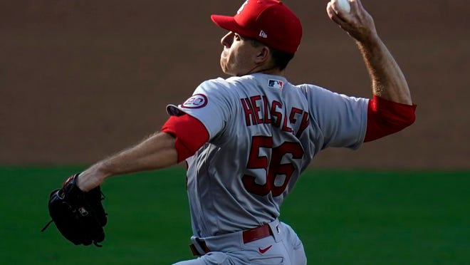 St. Louis Cardinals relief pitcher Ryan Helsley works against a San Diego Padres batter during the fifth inning of Game 1 of a National League wild-card baseball series Wednesday, Sept. 30, 2020, in San Diego.