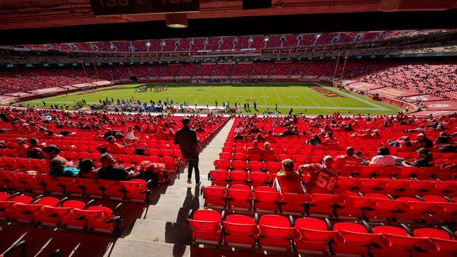 A limited audience at Arrowhead Stadium watch as the New York Jets play the Kansas City Chiefs in the second half of an NFL football game on Sunday, Nov. 1, 2020, in Kansas City, Mo.