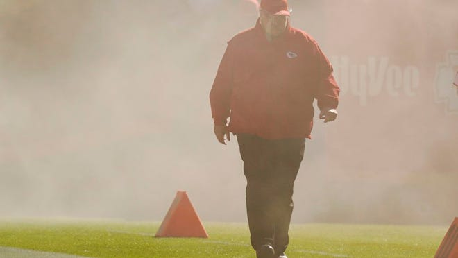 Kansas City Chiefs head coach Andy Reid walks onto the field during team introductions before the first half of an NFL football game against the New York Jets on Sunday, Nov. 1, 2020, in Kansas City, Mo.