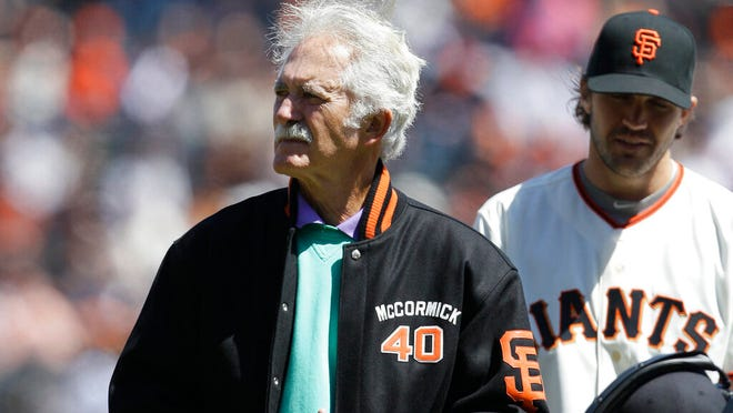 This April 13, 2012, photo shows former San Francisco Giants pitcher Mike McCormick before a baseball game between the Giants and the Pittsburgh Pirates in San Francisco. McCormick, who won the Cy Young Award in 1967, died Saturday, June 13, 2020, at his home in North Carolina after a long battle with Parkinson's disease. He was 81.