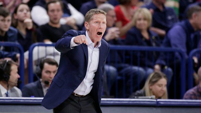 Gonzaga head coach Mark Few shouts to his players during the first half of an NCAA college basketball game against San Diego in Spokane, Wash., in this Thursday, Feb. 27, 2020, file photo.
