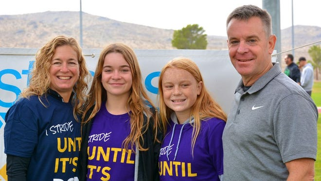 The Cystic Fibrosis Foundation continues to invest in and to fund talented scientists who work compassionately and tirelessly to find a cure for all those who daily battle Cystic Fibrosis.  Shown at the 2019 Cystic Fibrosis Walk are members of the Frisbee family (left to right) Julie, Taylor, Isabella and Eric.