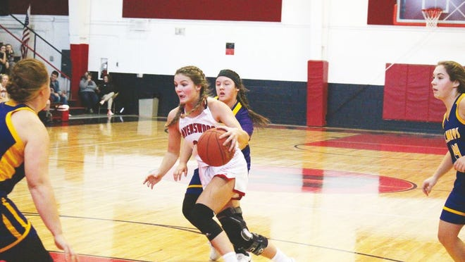 Annie Hunt controlled the ball during a regular-season game against St. Marys during 2019 Devilette's basketball season.