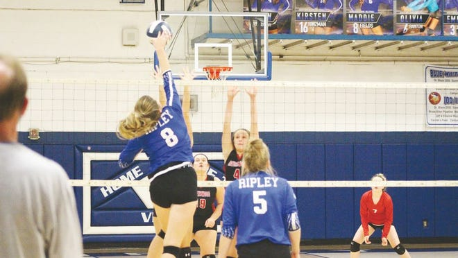 Ripley's Maddie Fields, No. 8, goes up for the spike.