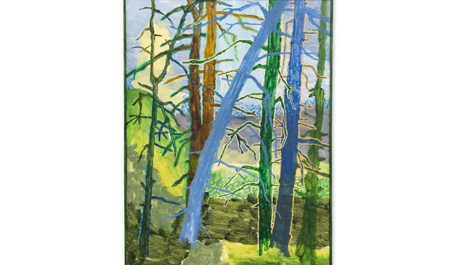 """""""The Six Trees,"""" oil and acrylic on canvas with artist frame (30.50 x 23 inches), by Ross Caliendo"""
