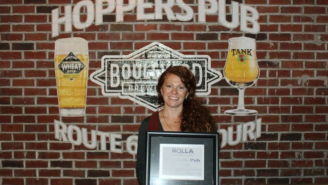 Hoppers Pub was named the Rolla Area Chamber of Commerce's December business of the Month. Established in 2010 by Ursula and Jake Lebioda, Hoppers Pub features 66 brews on tap on Route 66.
