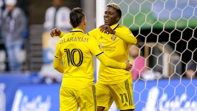 Gyasi Zardes, right, Lucas Zelarayan and the rest of the Crew will be placed in one of the three Eastern Conference groups at the tournament in Orlando, Florida.