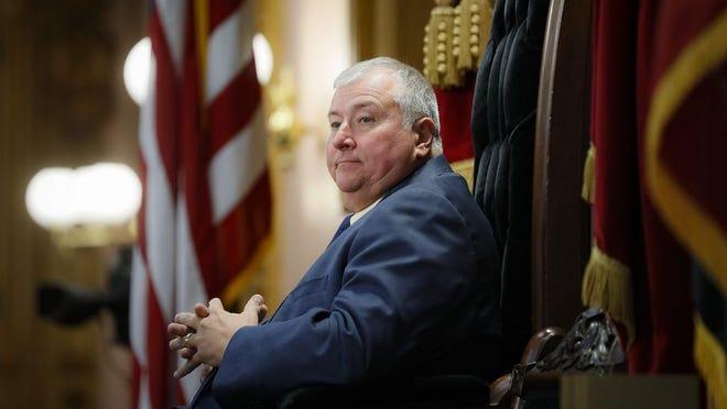 Ohio House Speaker Larry Householder presides over a legislative session in October 2019.