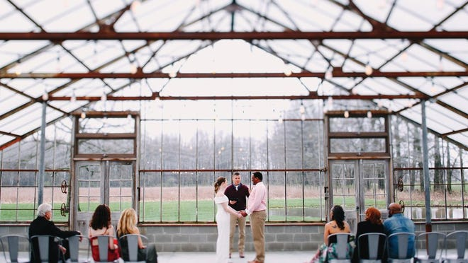 Elyse and James Hopkins opted for an ultra-small wedding at Jorgensen Farms Oak Grove on April 5, 2020.