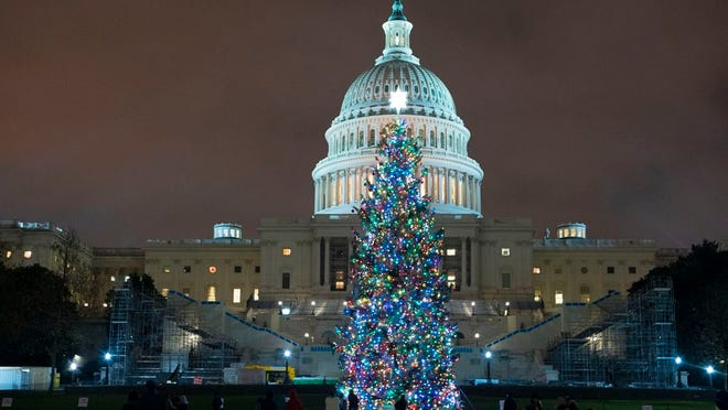 U.S. Capitol Christmas Tree is seen at the U.S. Capitol at night after negotiators sealed a deal for COVID relief Sunday, Dec. 20, 2020, in Washington. Top Capitol Hill negotiators sealed a deal Sunday on an almost $1 trillion COVID-19 economic relief package, finally delivering long-overdue help to businesses and individuals and providing money to deliver vaccines to a nation eager for them. (AP Photo/Jose Luis Magana.