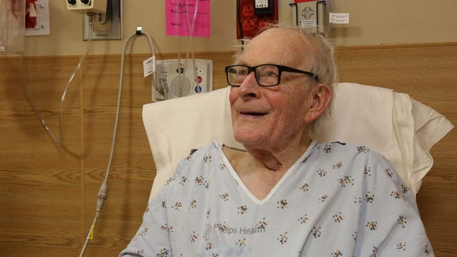 Dixon resident Jerry Plunkett, 92, was one of the first patients at Phelps Health to receive the COVID-19 vaccine.