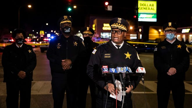 Chicago Police Superintendent David Brown speaks near the scene of a shooting after a gunman went on a shooting spree before being killed by police during a shootout Saturday night, Jan. 9, 2021, in Evanston, Ill.
