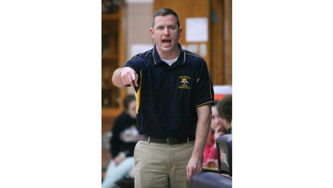 Former Whiteford coach Jay Haselschwerdt gives instructions to his team during a game in 2013.