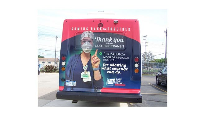 "Lake Erie Transit's ""Thank You"" bus wrap design that honors ProMedica Monroe Regional Hospital staff."