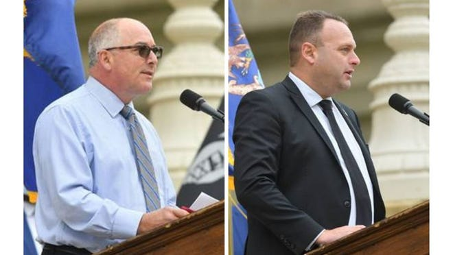 Rep. Joe Bellino, R-Monroe; and Rep. Jason Sheppard, R-Temperance, give their remarks during the Michigan House of Representatives annual 9/11 ceremony. Two Monroe County first responders were among those honored this year.
