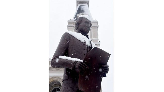The President James Monroe statue, as seen shortly after a snowfall in early 2020.