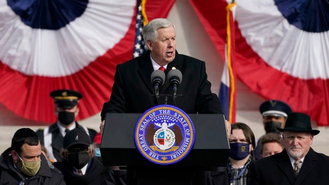 Missouri Gov. Mike Parson delivers the inaugural address after being sworn in to his first full term as governor Monday, Jan. 11, 2021, in Jefferson City, Mo.