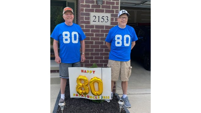 Bill Keessee at left, his twin brother Jessie Keesee, at right. They celebrated their 80th birthday Wednesday.