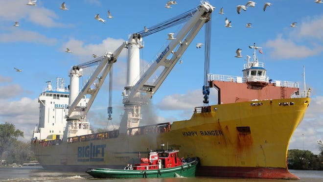 The Happy Ranger arrives at the Port of Monroe last year. The port recently received an award for increasing its international cargo tonnage compared to last year.