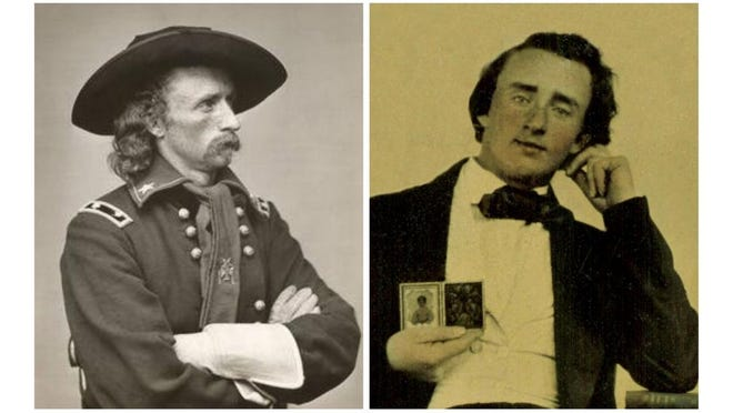At left, Gen. George Custer (photo via MONROE COUNTY HISTORICAL MUSEUM]. At right, George Custer at age 17.