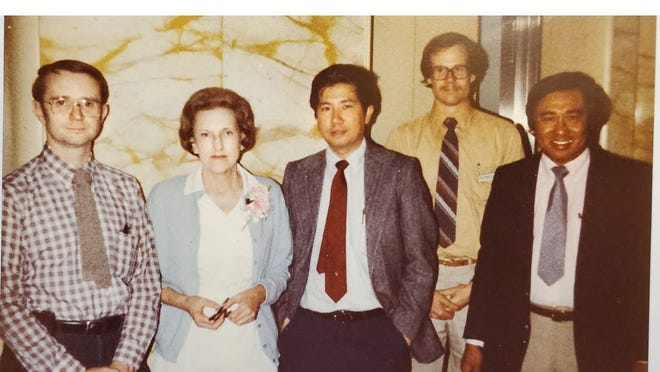 This is a group photo of the Mercy Memorial Hospital Radiology Department, circa 1982. They are, from left to right: Dr. William Resinger, staff radiologist; Betty Perrini, office supervisor; Dr. J. Uy, staff radiologist; Carl Anderson, chief technologist, and Dr. Robespierre Tumbokum, chief radiologist.
